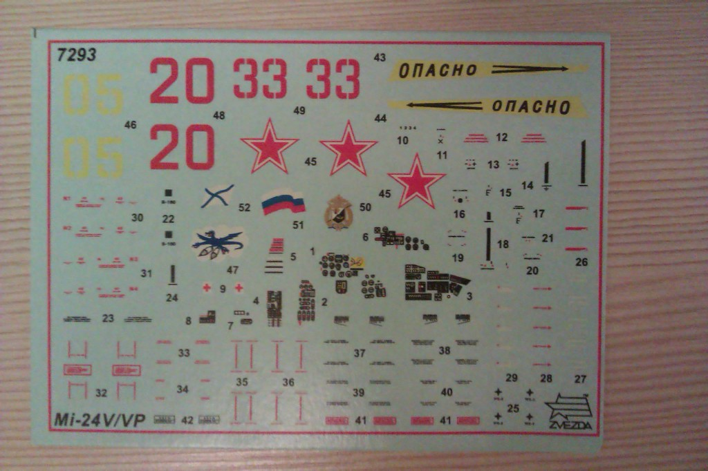 Декаль для Ми-24 В/ВП от Звезды