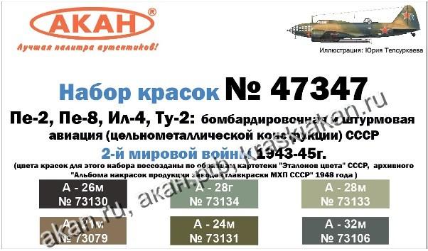 Набор 47347: АКАН: Бомбардировочная и штурмовая авиация (цельнометаллической конструкции) СССР 2-й мировой войны 1943 - 1945 г.: Пе-2, Пе-8, Ил-4, Ту-2