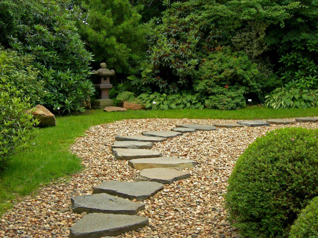 Zen Path in a Japanese botanical garden in Prague