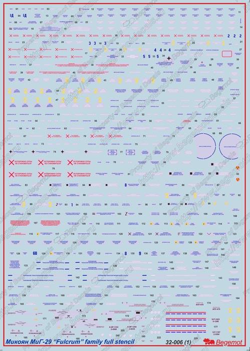 Микоян Миг-29 Технические надписи: 32-006: 1/72: Бегемот: Обзор декали