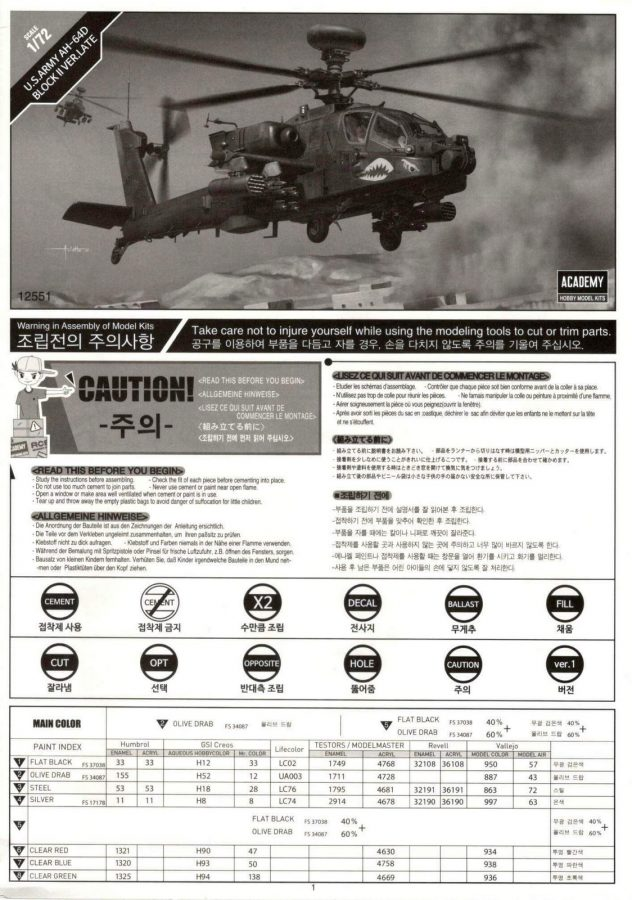 "U.S. Army AH-64D Block 2 ""Late version"": 12551: 1/72: Academy: Обзор коробки"