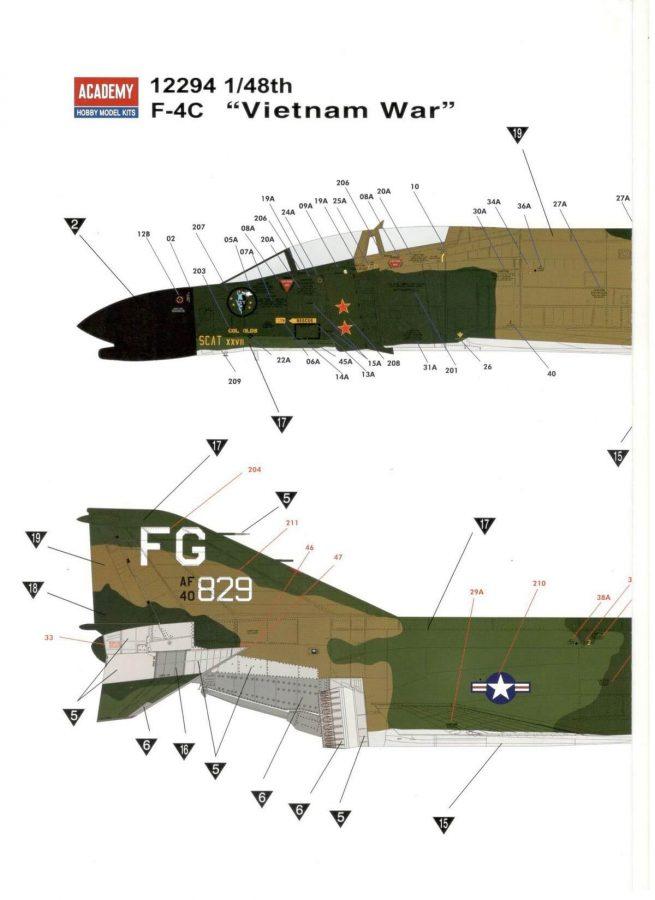 F-4C Vietnam war: 12294: 1/48: Academy: Обзор коробки
