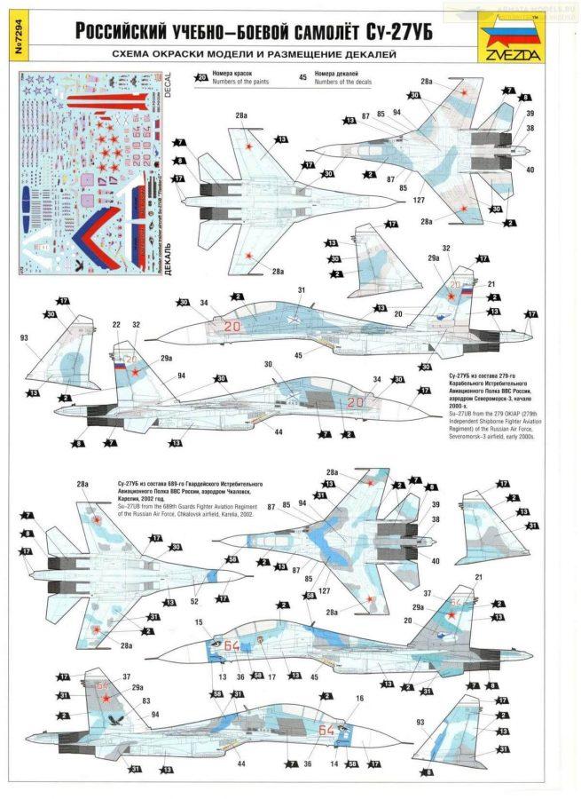 Российский истребитель Су-27УБ: 7294: 1/72: Звезда: Обзор коробки