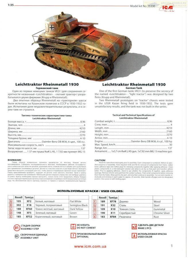 Leichttraktor rheinmetall 1930 German tank: 35330: 1/35: ICM: Обзор коробки Arma-models.ru