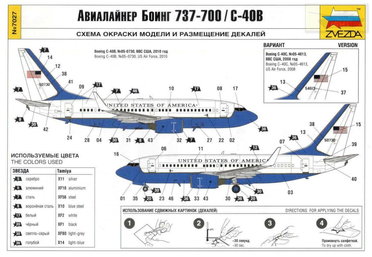 Авиалайнер Боинг 737-700/С-40В: 7027: 1/144: Звезда: Обзор коробки