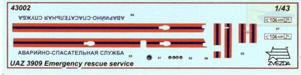 """Автомобиль УАЗ-3909 """"Аварийно-спасательная служба"""": 43002: 1/35: Звезда: Обзор коробки"""