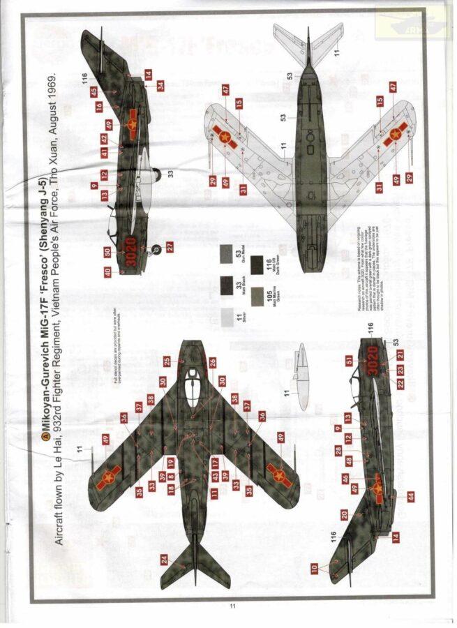 "Mykoyan-gurevich Mig-17F ""Fresco"" (Shenyang J-5): A03091: 1/72: Airfix: Обзор коробки"