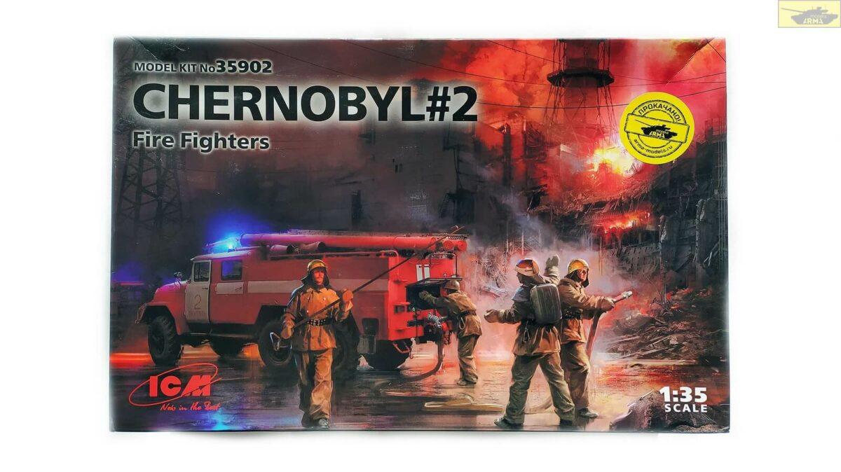Чернобыль №2 Огнеборы (АЦ-40-137А, 4 фигуры и картонная подставка с фоном): 35902: 1/35: ICM: Обзор коробки