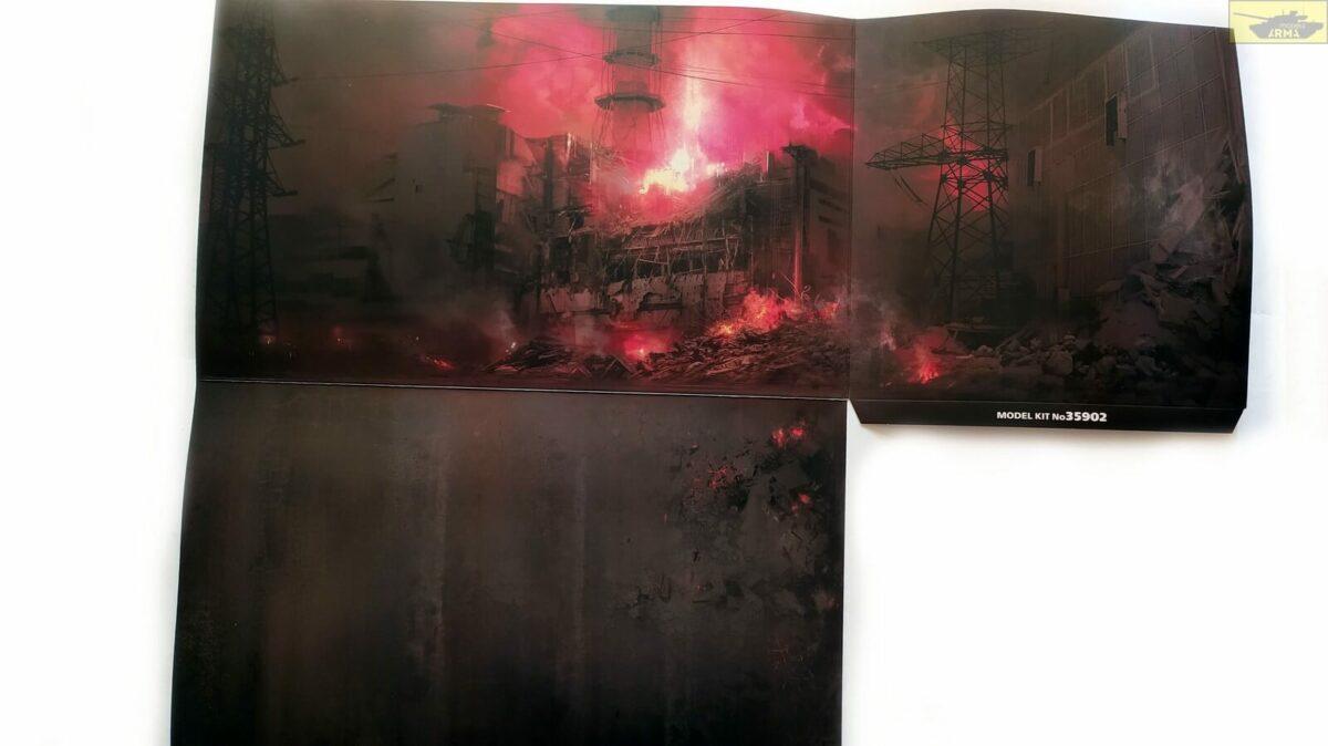 Чернобыль №2 Пожарные (АЦ-40-137А, 4 фигуры и картонная подставка с фоном): 35902: 1/35: ICM: Обзор коробки