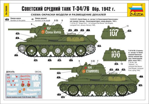Советский средний танк Т-34/76 обр. 1942 года: 3686: 1/35: Звезда: Обзор коробки